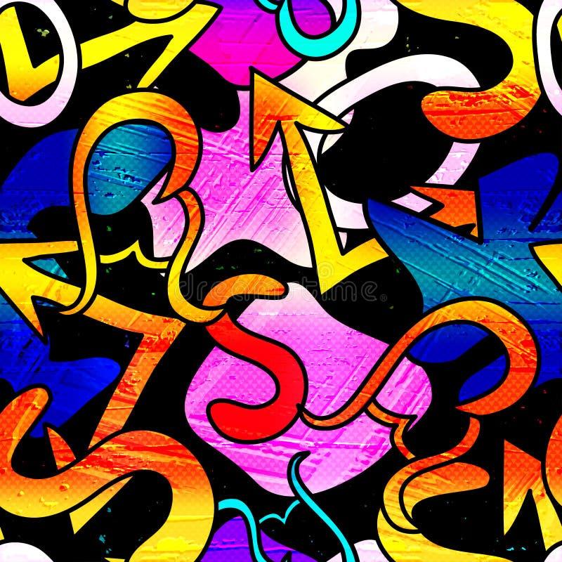 Royalty för textur för grafittibakgrund lagerför fri sömlös illustrationen royaltyfri illustrationer
