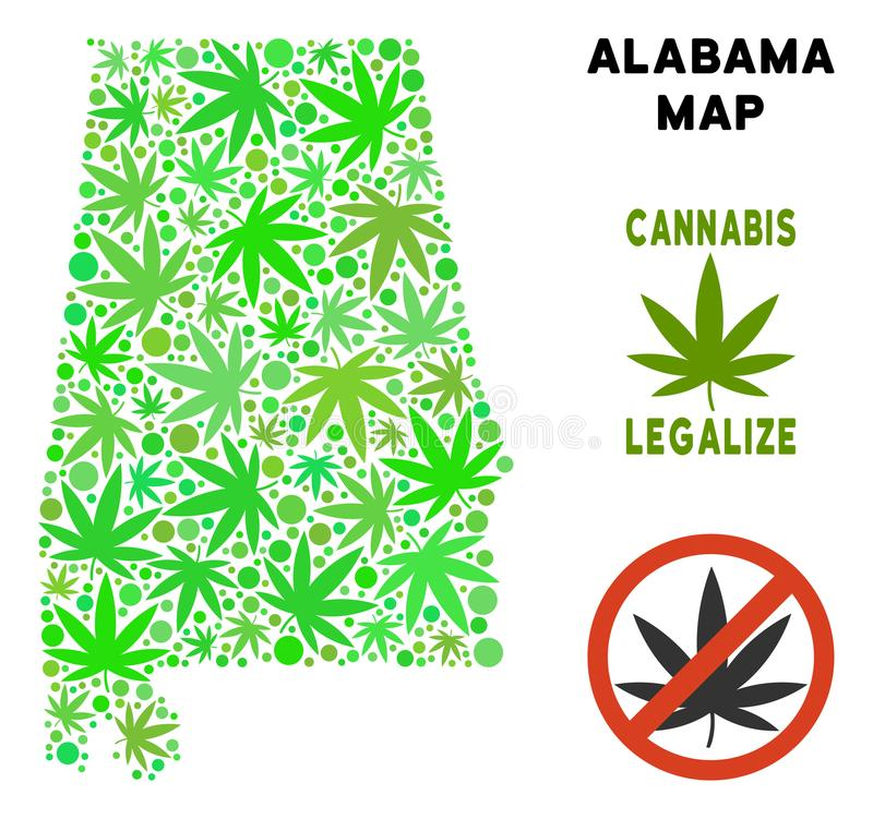 Royalty Free Marijuana Leaves Mosaic Alabama State Map. Royalty free cannabis Alabama State map collage of weed leaves. Concept for narcotic addiction campaign vector illustration