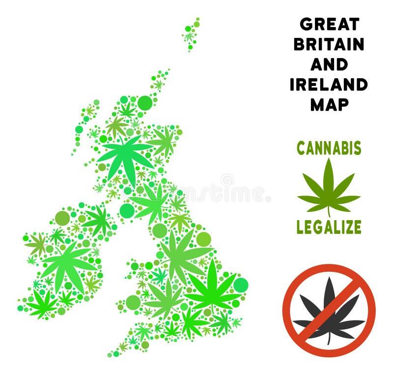 Royalty Free Marijuana Leaves Mosaic Great Britain And Ireland Map