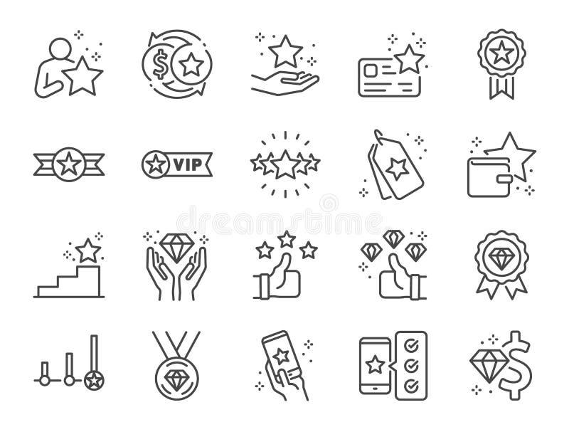 Royaltyprogramlinje symbolsuppsättning Inklusive symboler som medlemmen, storgubben, artikeln med ensamrätt, diamanten, emblemet  stock illustrationer