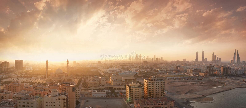 Royaume de vue de coucher du soleil du Bahrain photos libres de droits
