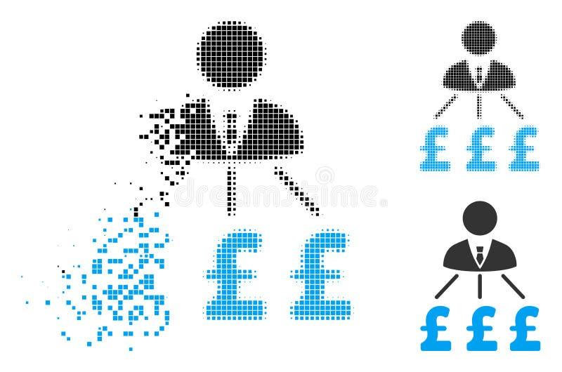 Rozłożona Kropkowana Halftone biznesmena funta kosztów ikona ilustracji