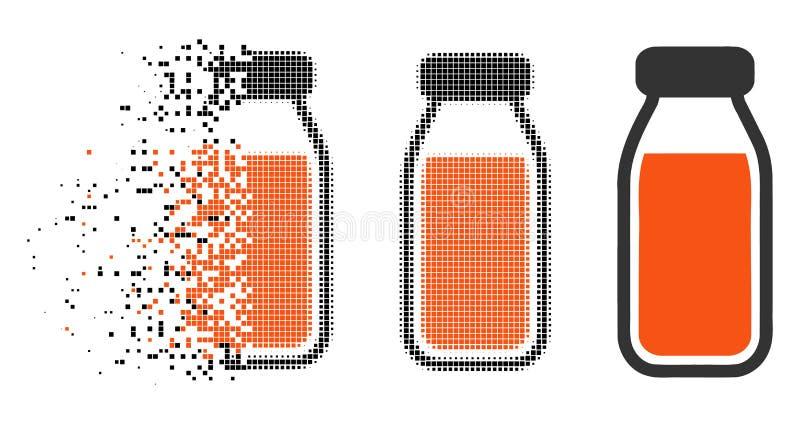 Rozłożona Kropkowana Halftone Pełnej butelki ikona royalty ilustracja