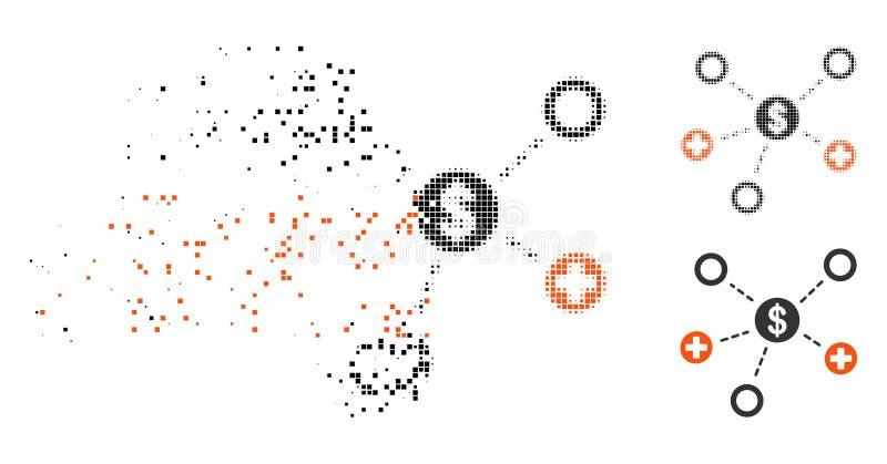 Rozłożonego Pixelated Halftone Medycznych powiązań Pieniężna ikona ilustracji