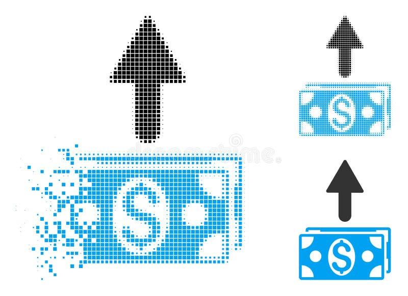 Rozłożony piksla Halftone Wysyła banknot ikonę ilustracji