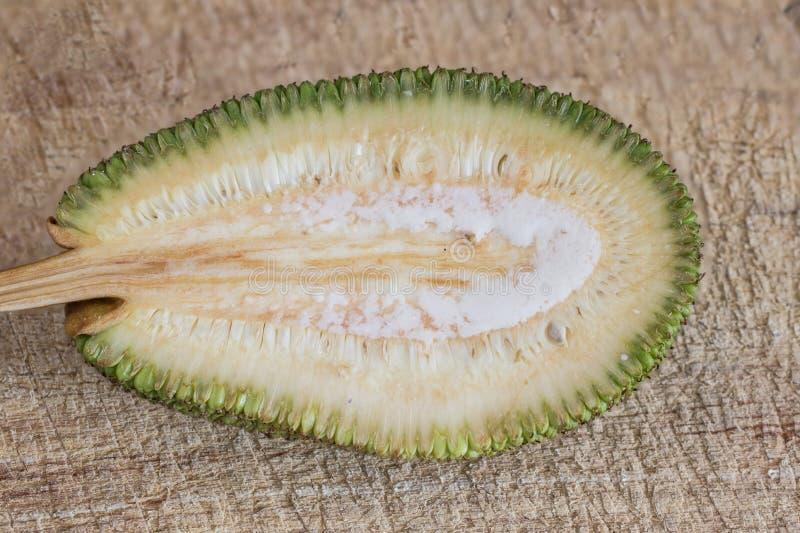 Rozłupany niewyrobiony jackfruit zdjęcia stock