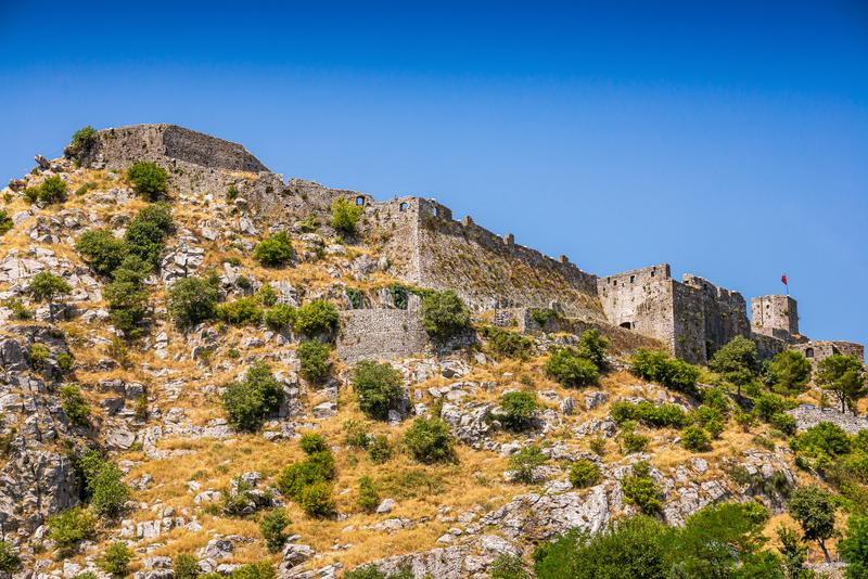 Rozafa Castle rises imposingly on rocky hill in Shkoder city, Albania stock photos