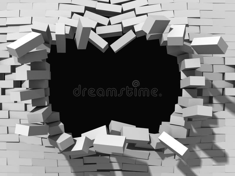 Rozbiórka biały ściana z cegieł niebieski tła architekturę kompasowy głębokie rysunek ilustracja wektor