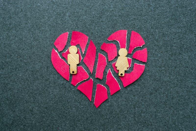 Rozbicie, rozwód, nieudany związku pojęcie Łamany, mozaika, p fotografia stock