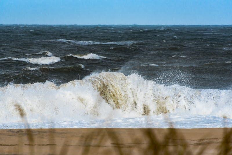 Rozbijać łamaczy podczas huraganowego Hermine obrazy royalty free
