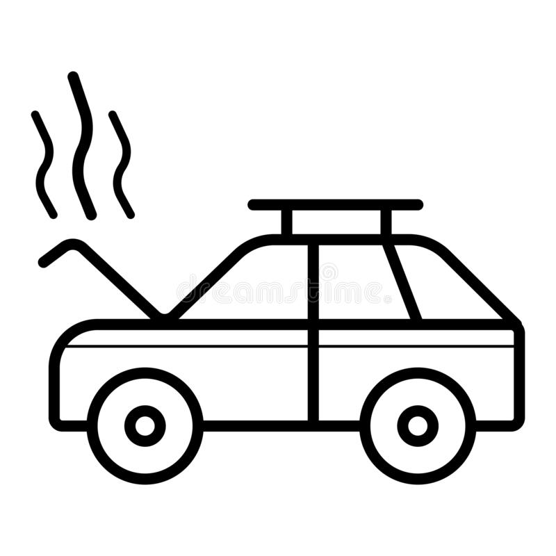 Rozbija, dymi, otwarta kapiszonu samochodu usługa, samochód naprawa ilustracji