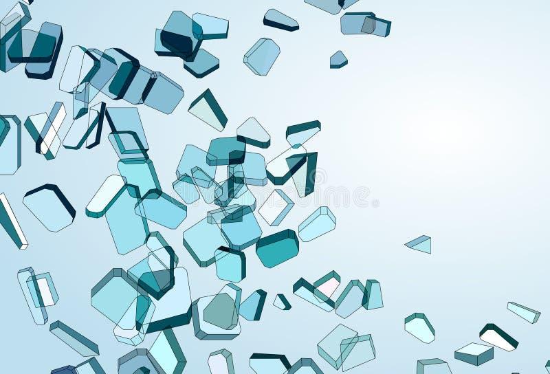 Rozbijający i uszkadzający kawałki błękitny szkło ilustracja wektor