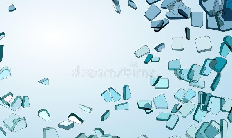 Rozbijający lub uszkadzający kawałki błękitny szkło royalty ilustracja