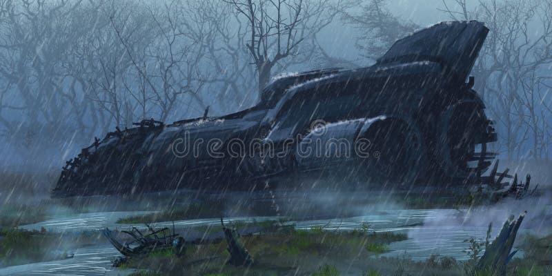 Rozbijający statek kosmiczny w Mokrej ziemi ilustracji
