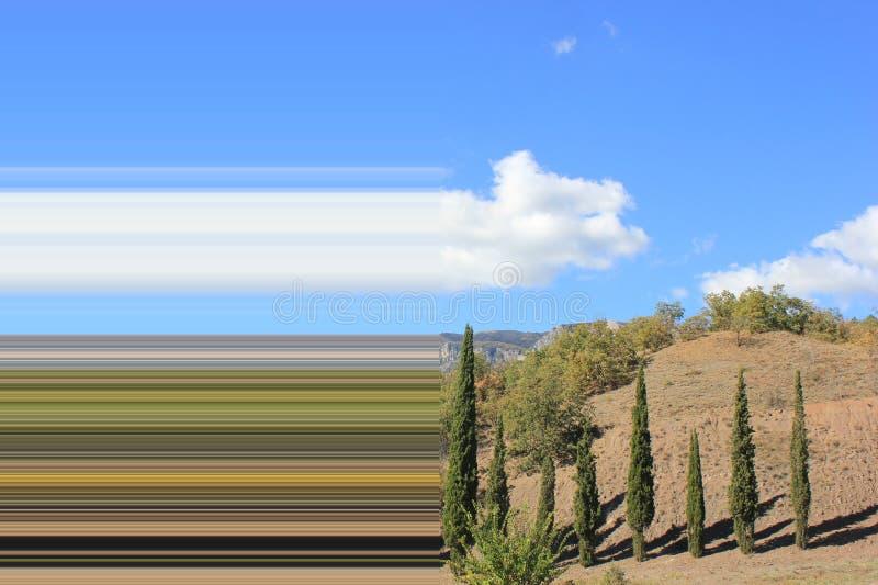 Rozciągać kolory wzdłuż horichontal wizerunek drzewa na wzgórzach niebo wizerunek paleta zdjęcia stock