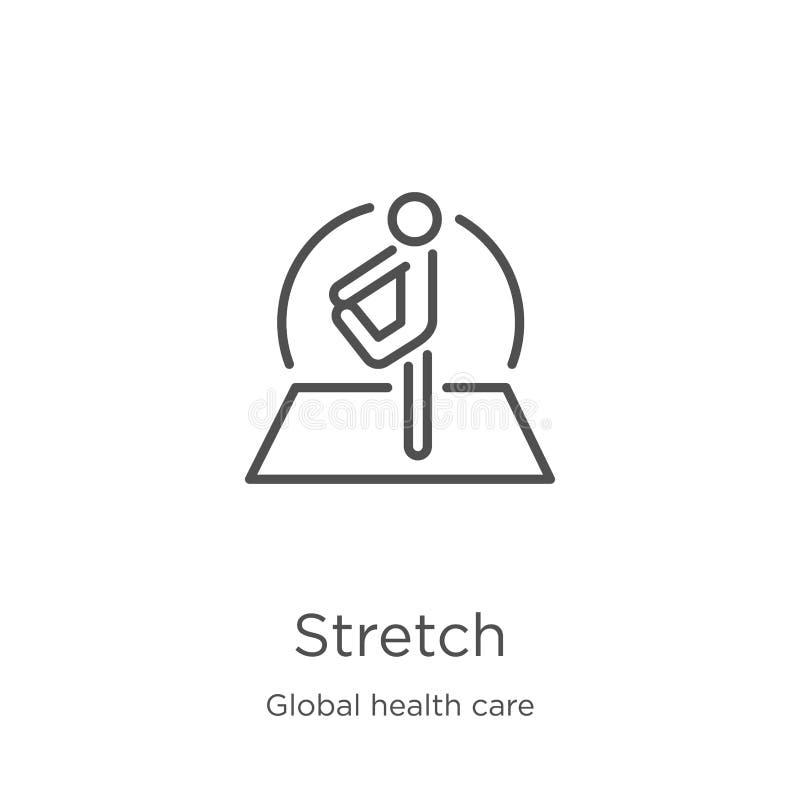 rozciągliwości ikony wektor od globalnej opieki zdrowotnej kolekcji Cienka kreskowa rozciągliwość konturu ikony wektoru ilustracj royalty ilustracja