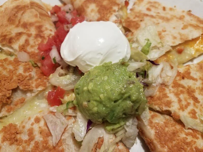 Rozciekły ser w piec na grillu kwaśnej śmietanka i tortilla avocado i obrazy royalty free