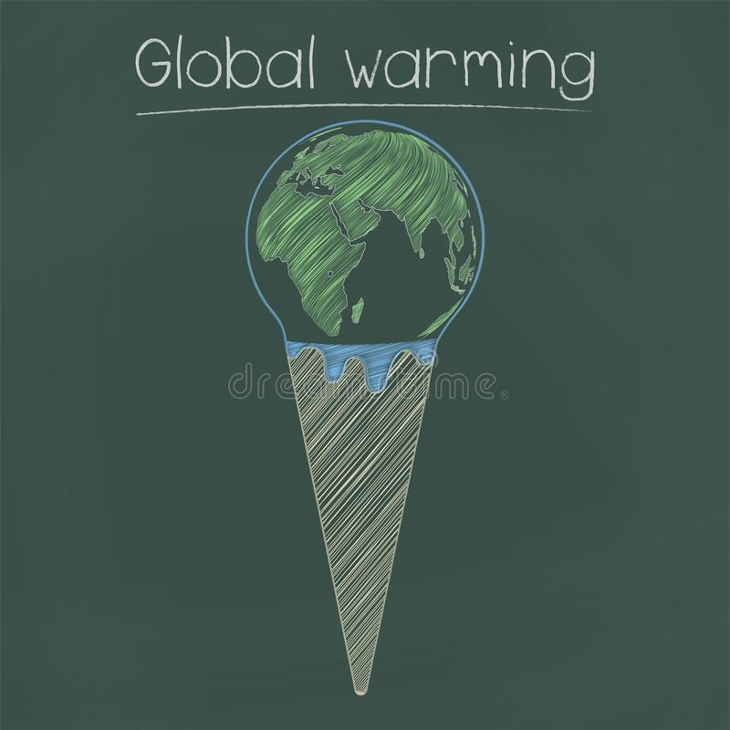 Rozciekły ziemski lody rożek ilustracji