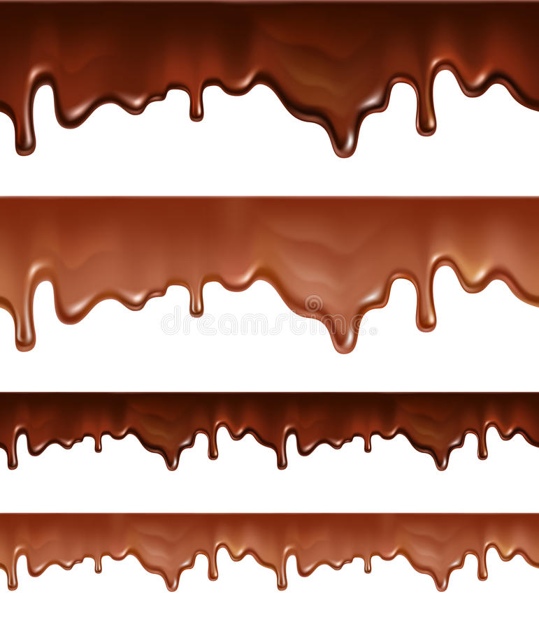 Rozciekły czekoladowy obcieknięcie na białym tle royalty ilustracja