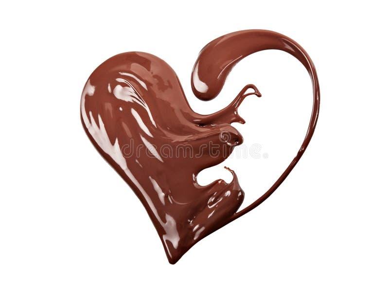 Rozciekły czekoladowy serce zdjęcia stock