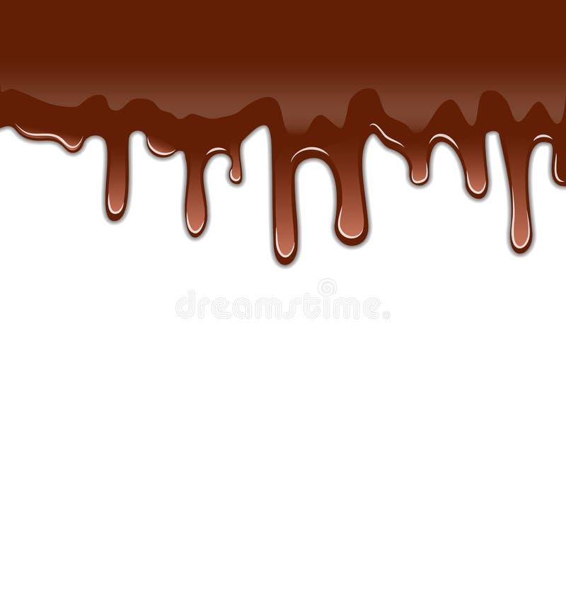Rozciekli czekoladowi syropowaci kapinosy odizolowywający na białym tle, swee ilustracji
