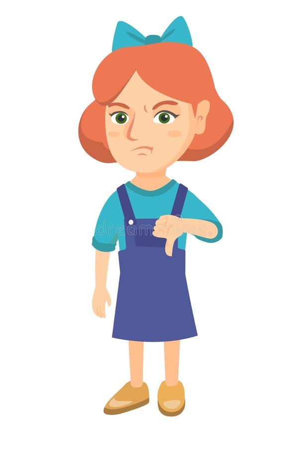 Rozczarowana caucasian dziewczyna z kciuka puszkiem royalty ilustracja