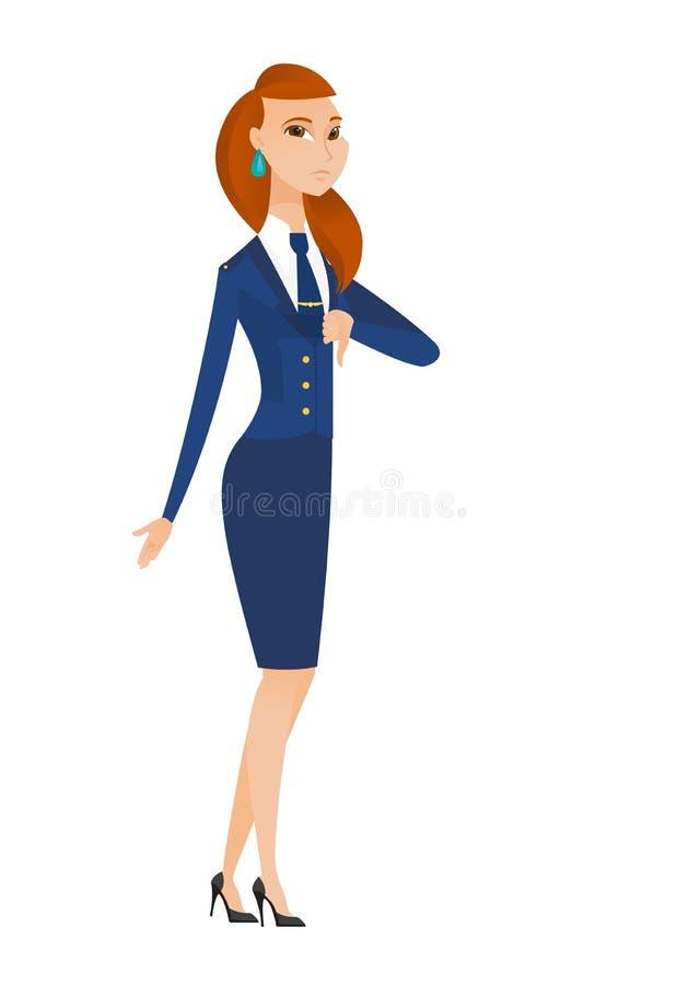 Rozczarowana caucasian stewardesa z kciuka puszkiem royalty ilustracja