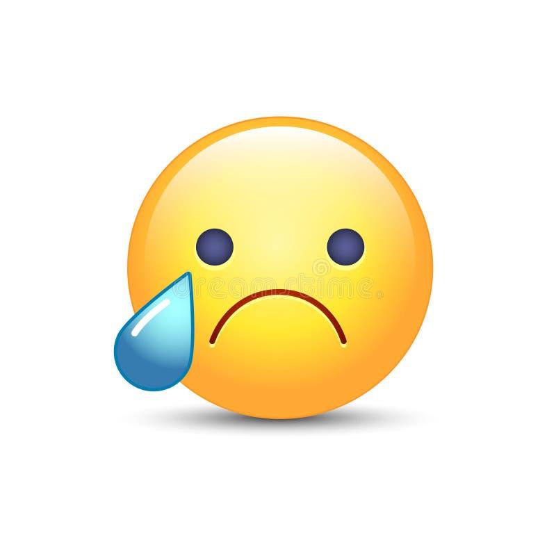 Rozczarowana emoji twarz Płacz kreskówki wektorowy smiley Smutny emoticon nastrój ilustracji