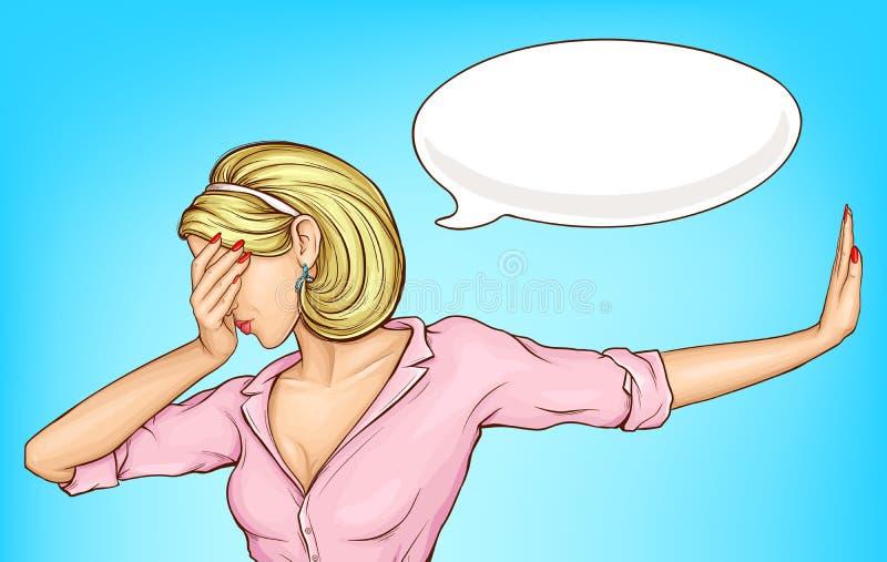 Rozczarowana kobieta robi facepalm kresk?wki wektorowi ilustracja wektor