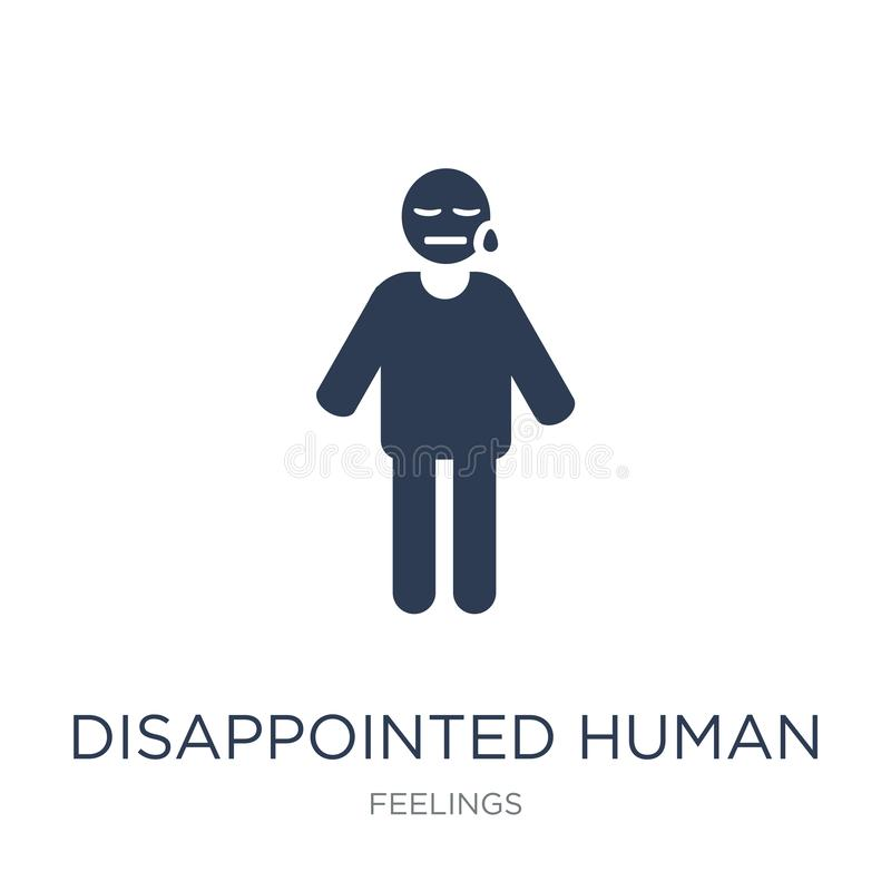 rozczarowana ludzka ikona Modnego płaskiego wektoru rozczarowana istota ludzka ja ilustracja wektor