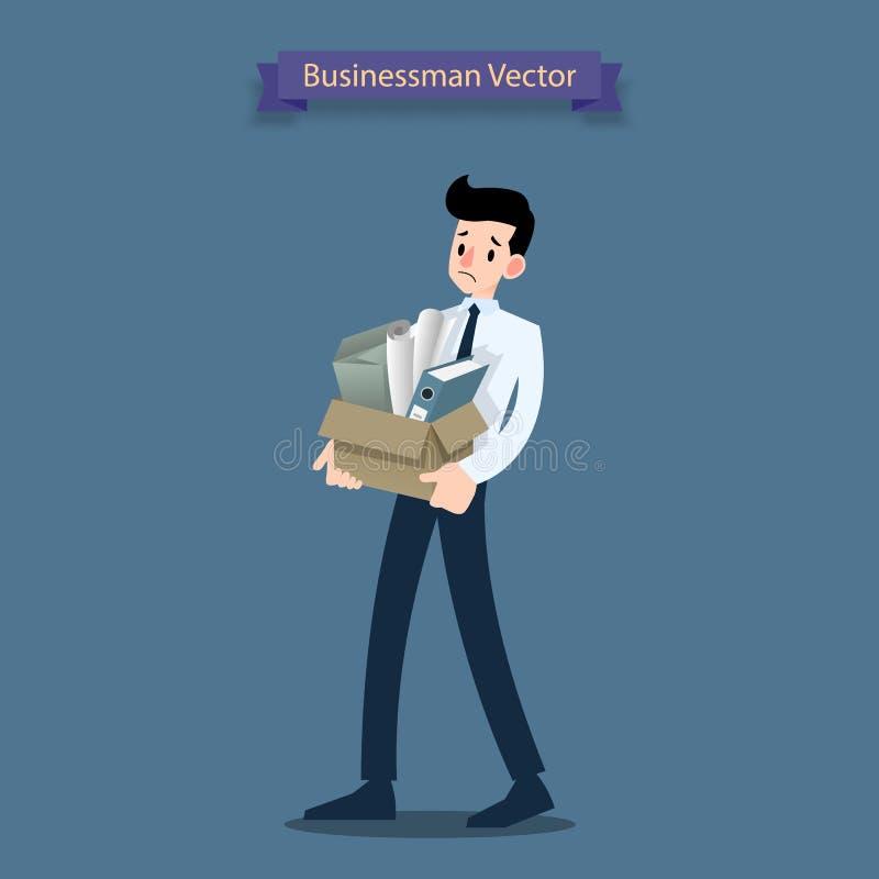 Rozczarowanie biznesmena stojak i nieść jego karton z osobistymi materiałów należeniami, opuszcza biuro po być fi ilustracji