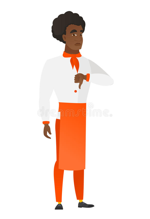 Rozczarowany afrykański szefa kuchni kucharz z kciuka puszkiem ilustracja wektor