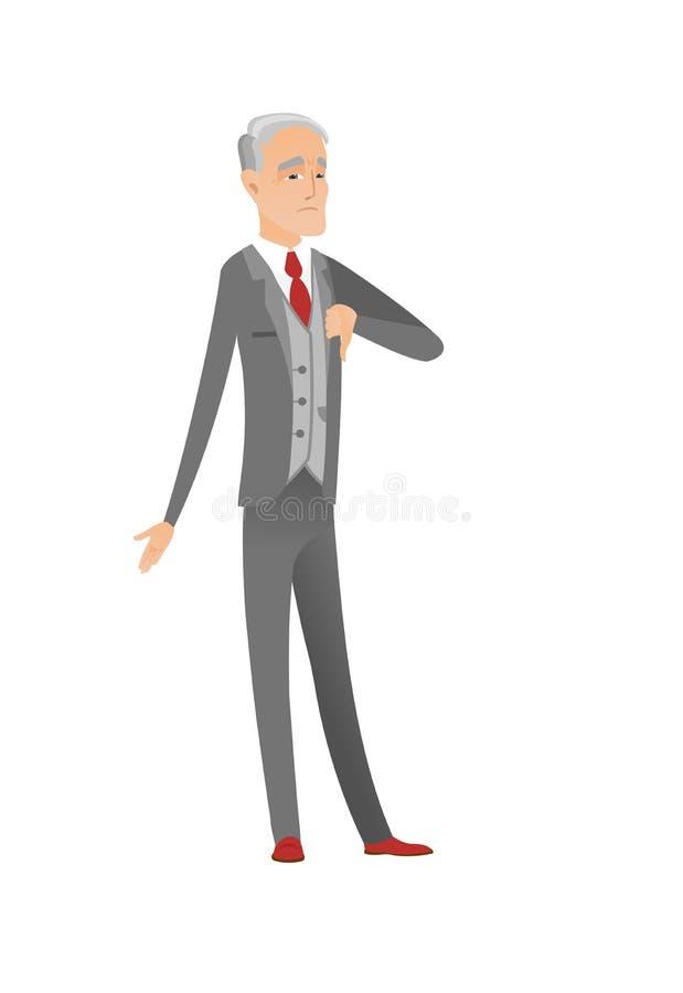 Rozczarowany caucasian biznesmen z kciuka puszkiem royalty ilustracja