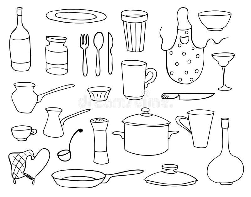 rozdaje ustawiających gospodarstwo domowe przedmioty ilustracji