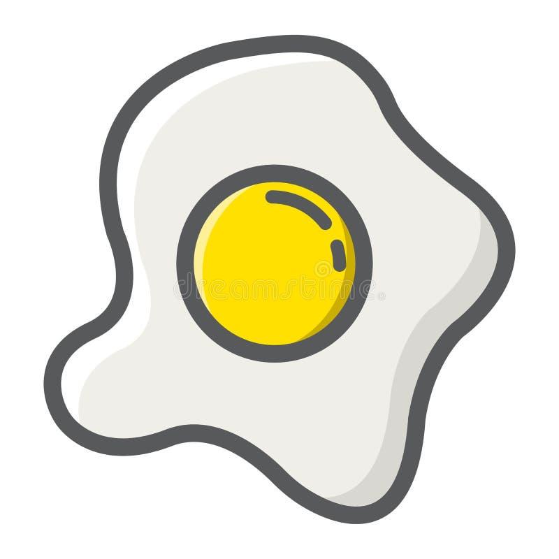 Rozdrapani jajka wypełniający zarysowywają ikonę, jedzenie i napój, ilustracja wektor
