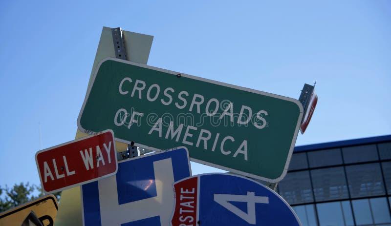 Rozdroża Ameryka Roadsign zdjęcia royalty free