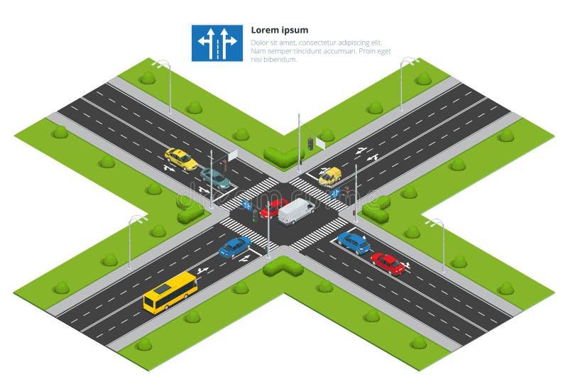 Rozdroża i drogowych ocechowań isometric wektorowa ilustracja dla infographics Przewieziony samochód, miastowy i asfaltowy, ruch  ilustracji