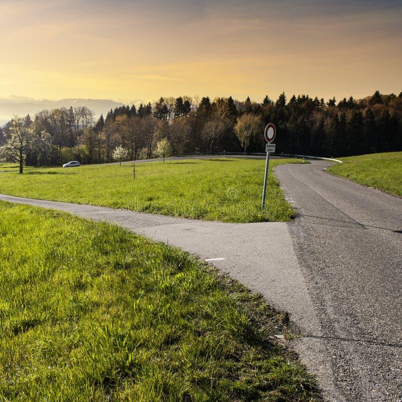 Rozdroża z ruchu drogowego znakiem obrazy stock