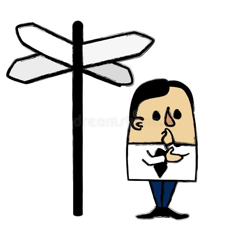 Rozdroże biznesmen ilustracja wektor