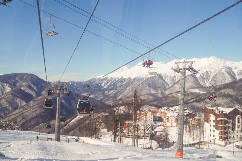 Rozdroże góry cableways zdjęcia stock