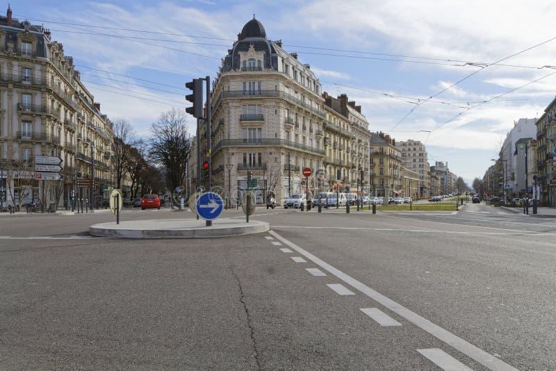 Rozdroże przy wejściem Grenoble obraz stock
