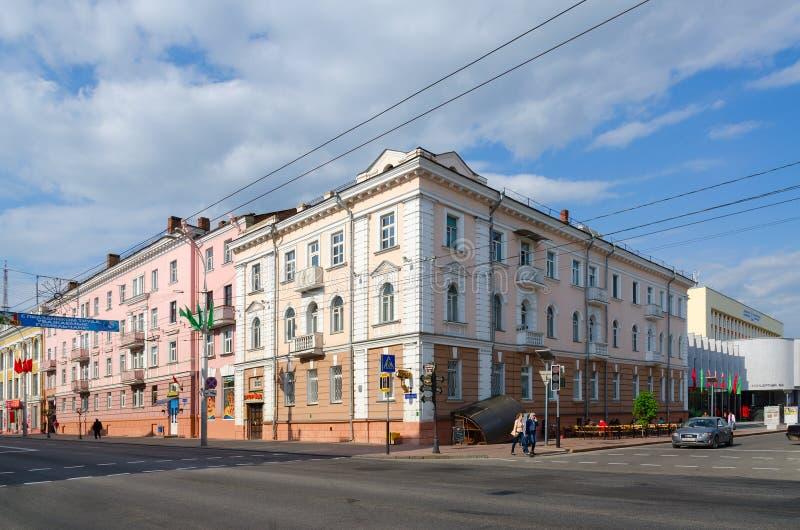 Rozdroże ulicy Lange i Sovetskaya, Gomel, Białoruś obraz stock
