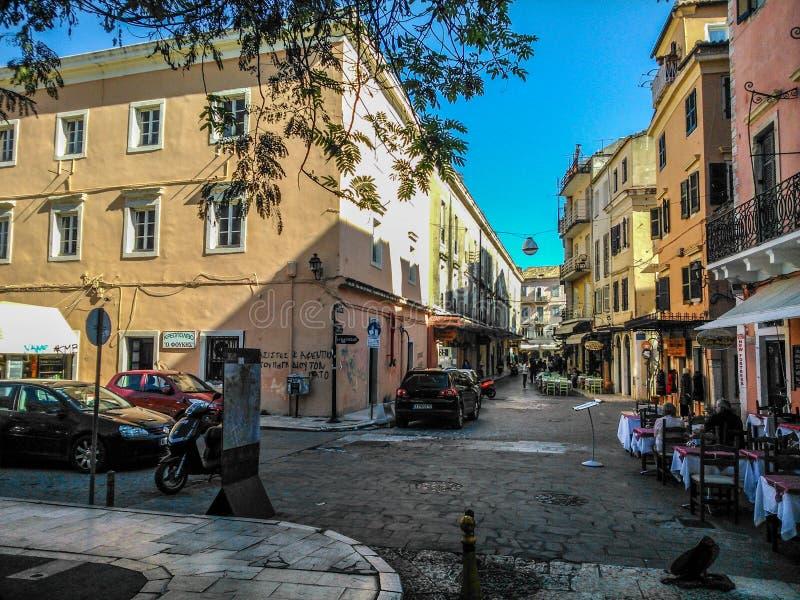 Rozdroże w centrum Corfu fotografia royalty free