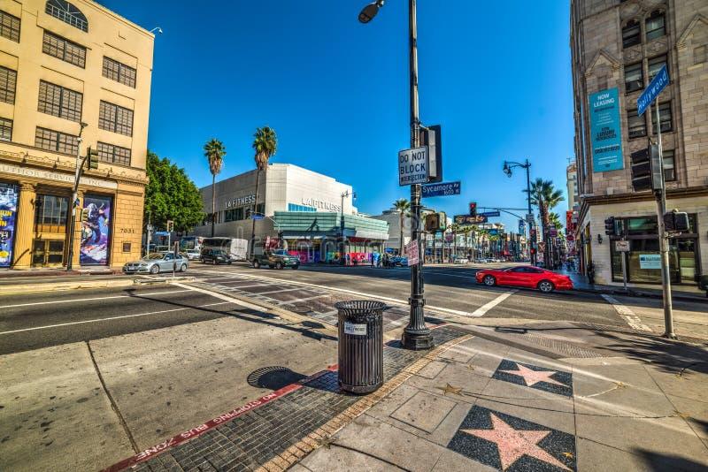 Rozdroże w Hollywood bulwarze ave i jaworze obrazy royalty free
