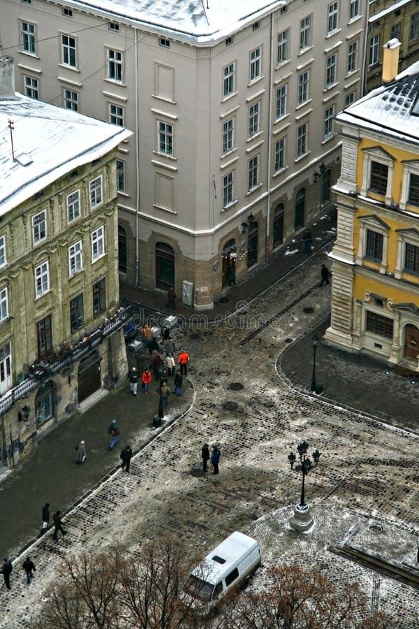 Rozdroże zima w Lviv odgórnym widoku fotografia royalty free