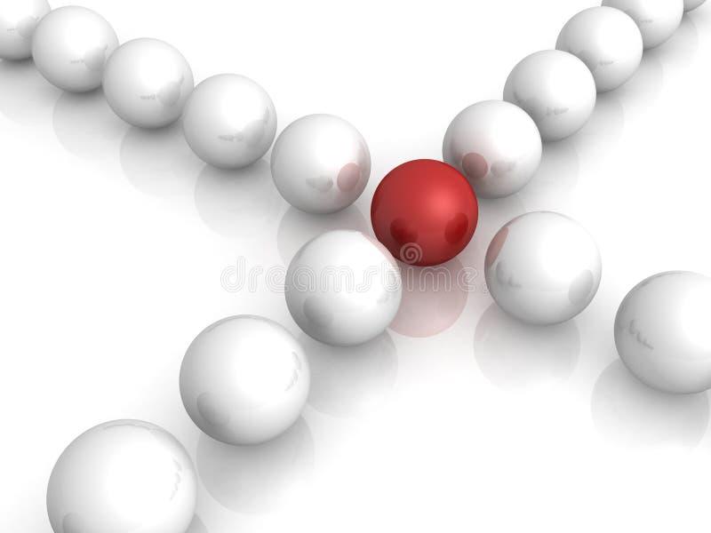 rozdroży lidera czerwona sfera leje się biel royalty ilustracja