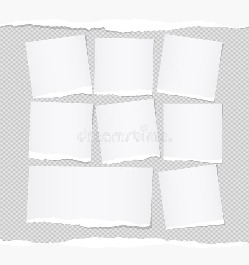 Rozdzierająca biel notatka, notatnik, copybook papieru prześcieradła wtykał na ciosowym szarym tle ilustracja wektor