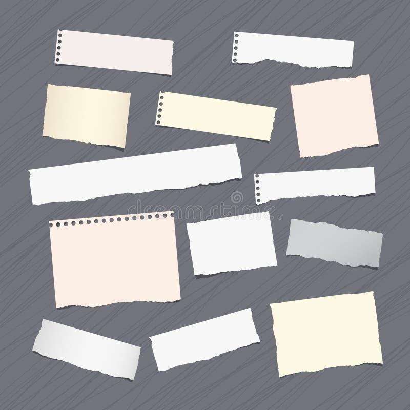 Rozdzierająca notatka, notatnik, copybook papieru prześcieradła wtykał na prążkowanym wzorze ilustracji
