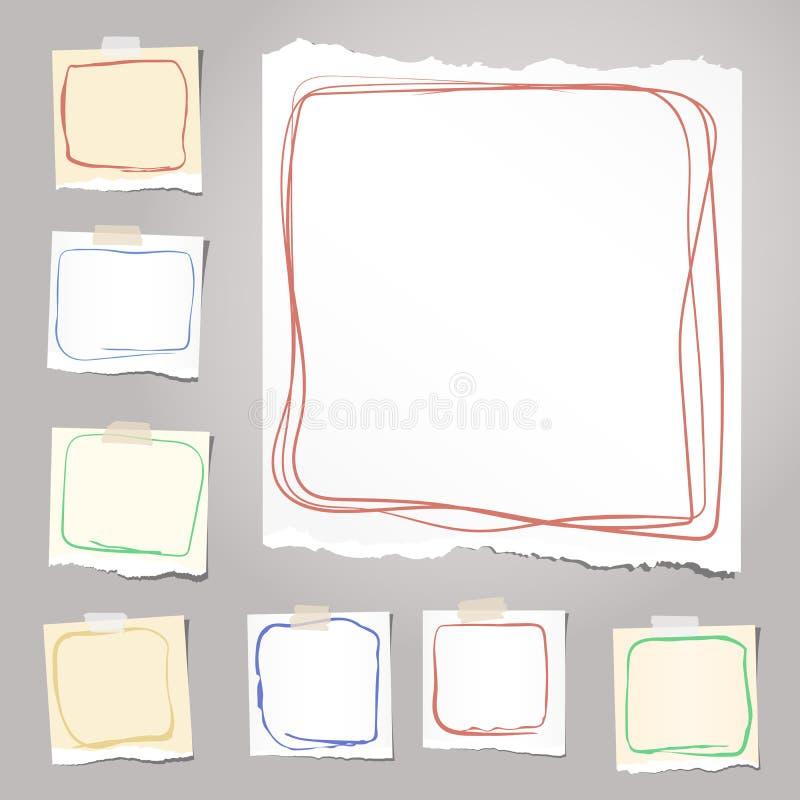 Rozdzierający biały i brown notatnik, notatka, copybook papier ciąć na arkusze z kolorowymi doodle ramami, wtykać na tle ilustracji