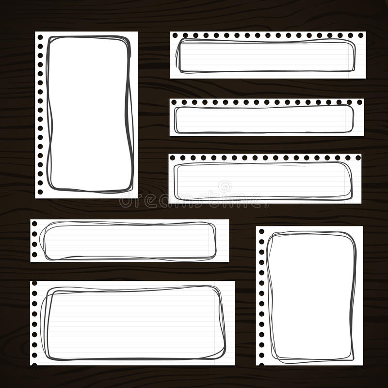 Rozdzierający biały notatnik, notatka, copybook papier ciąć na arkusze z czarnymi doodle ramami, wtykać na ciemnej drewnianej des royalty ilustracja